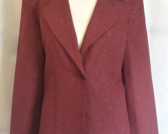 SHOP CLOSING 70% OFF Vintage 80s blazer gold design blazer dark red blazer B Time blazer vintage womens clothing size 5/6