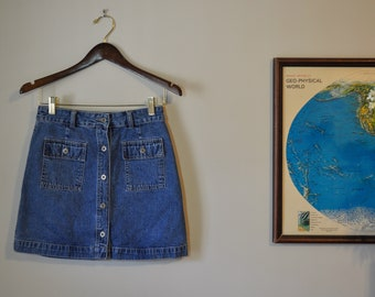 Vintage Gap Denim Button Up Mini Skirt Size Extra Small Retro