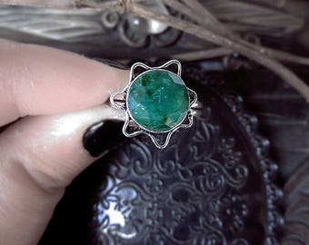 Green Sillimanite Ring, Fibrolite Ring, Green Crystal Ring, Star Ring, Flower Ring, 18,5mm Ring