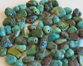 Real Turquoise Nuggets Beads,  10 Pcs Turquoise Gemstone, Genuine Turquoise Nugget Beads