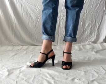 Vintage || VANITY FASHIONS || 1990s 90s Black Peep-toe Strappy Sandals | Shoes | Footwear | Size 7.5 ||