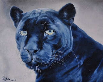 Black panther oil painting on canvas ready to hang/  hipper-realism / animal
