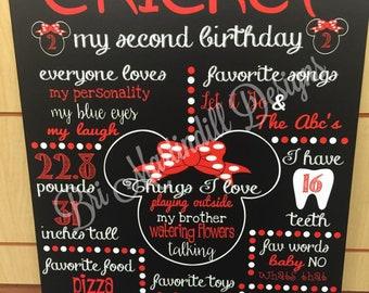 Minnie Birthday Board / Red & Black