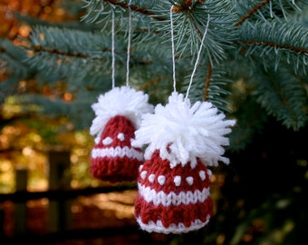 Miniature Red Hat Knit Ornaments- Two Red White Striped Caps- Christmas, Holiday Decor- Hand Knit- Doll Hat, Pet Hat