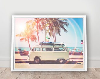 Retro Van Print - Children Room Decor, Digital Download, Old Car Photo, Beach Print, California Wall Art, Gift for Him, Boys Printables