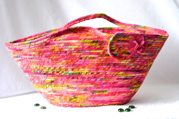 Magenta Tote Bag, Handmade Fabric Basket, Moses Basket, Lovely Pink Storage Organizer, Picnic Basket with handles, Gift Basket