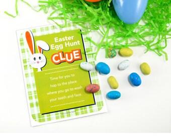Easter Scavenger Hunt Clue Cards - Scavenger Easter Egg Hunt - (11 CLUES) + 41 Free Fortunes - Instant download. Easter printable game