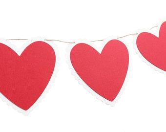 Valentine's Day Heart Garland - Heart Garland - Red Heart Garland - Valentine's Day Banner - Heart Banner