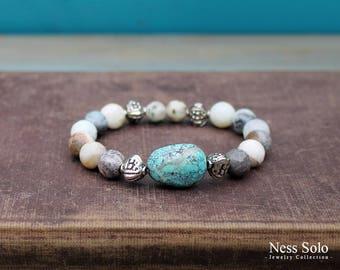Gray gemstone bracelet Boho bracelet Genuine Turquoise bracelet Bohemian jewelry Boho beaded bracelet Stretch bracelet Stacking bracelets