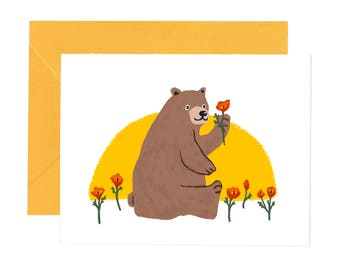 California Bear with Poppy Flower Occasion Card
