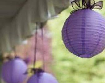 18pcs 20cm Purple Paper Lanterns • Wedding Engagement Anniversary Birthday Bridal Shower Party Easter Decorations