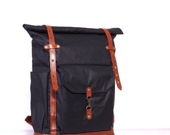Waxed canvas backpack Black roll top canvas leather backpack mens Women canvas backpack for laptop Waxed cotton rucksack