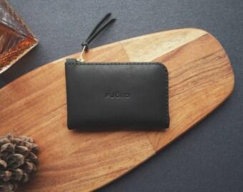 Halfzipwallet (long) graphite / Zipper wallet / Small leather wallet / Minimalist wallet