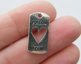 8 Follow your heart charms antique silver tone M220