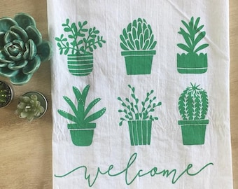 Succulents and Cacti Welcome Screen Printed Tea Towel