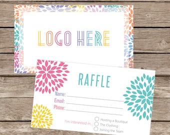printable raffle ticket business card giveaway promotion cards instant download llr007