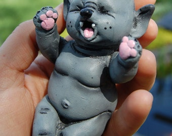 Sleepy Yawning Baby Werewolf Pup Resin Figure Toy Collectible