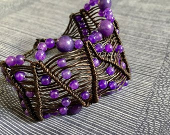 Violet Amethyst on wax string crochet bracelet