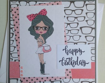 Handmade fashion girl greeting card birthday card teen girl handmade fashion girl birthday card teen girl birthday bookmarktalkfo Gallery