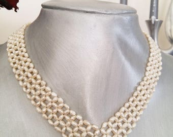Freshwater Pearl Necklace/Antique Pearl Restoration/Seed Pearl necklace/Woven Pearls/Choker/High Quality Pearl/Gift Idea/Unique/Hand Made