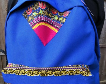 African inspired dashiki backpack (blue)