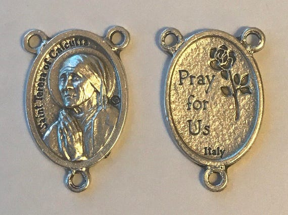 5 Rosary Center Findings, St. Teresa of Calcutta, Die Cast Silverplate, Silver Color, Oxidized Metal, Made in Italy, Charm, Religious