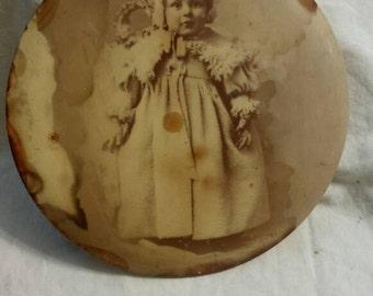 Victorian child photo button sepia tone