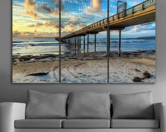 "Beautiful bridge sunset beach, 3 panel split (triptych) Canvas Print. 1.5"" deep frames blue and yellow skies for interior room decorwall art"