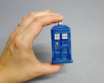 Tardis Figurine - Mini Ceramic Blue Police Box Sculpture
