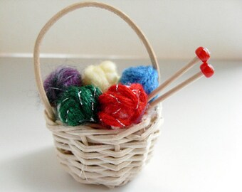 Knitting Basket Ornament - Knitting Christmas ornament, yarn ornament, gift for knitter, gift under 15, stocking stuffer, secret santa gift