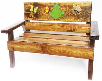 Childrens Garden Bench, Whimsical Painted Outdoor Furniture, Boy/Girl Kids  Toddler+, Reclaimed