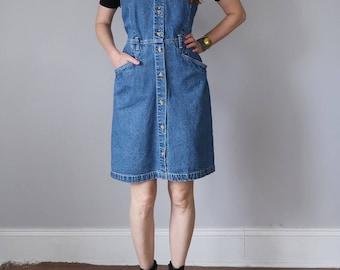 80s denim sleeveless jumper dress fitted waist (m - l)