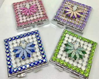 Bling Ornate Opal AB Pink, Blue, Purple or Green Pillbox~ Crystal  Rhinestone Square Pill Box Case USA Beautiful!