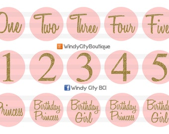 Light Pink and Gold Birthday Bottle Cap Images