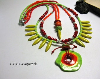 Funky, three-row necklace with large glass bead, colorful chain