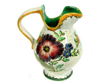 Gouda Holland Hand Painted Pottery Pitcher Large Floral