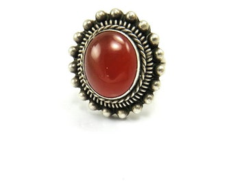 Carnelian Ring Sterling Silver Orange Red  Stone Ring Statement Boho Bohemian Jewelry Ring Size 6