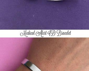 Medical Alert Hand Stamped Bracelet, Aluminum Cuff, Personalized Gift, Medical ID Bracelet, Diabetic Bracelet, Allergy Alert, Medication