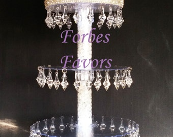 Gorgeous Crystal Prism 4 Tier Cupcake Tower Stand Wedding and Events Dessert Tower