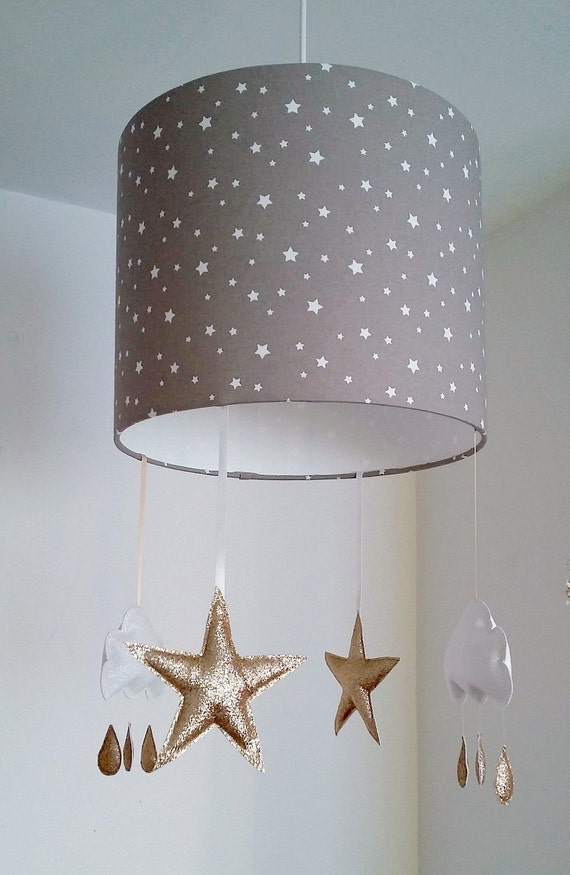 Star lampshade cloud nursery decor girl cloud mobile taupe like this item aloadofball Choice Image