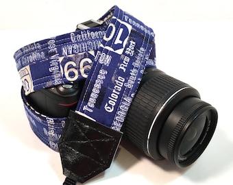 Map Camera Strap DSLR Camera Strap, Nikon Camera Strap, Canon Camera Strap, Route 66 Camera Strap, Blue Camera Strap, Fathers Day Gift