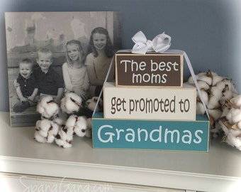 """Gift for Nana - Wood Block Stack: """"The Best Moms Get Promoted to Nanas"""" - Pregnancy Announcement. Grandparent news"""