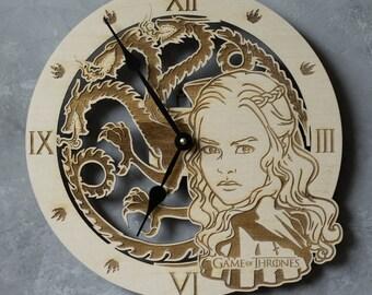 House Targaryen clock, Game of thrones, Emblem of Targaryen, GoT, Dragon decor, Targaryen