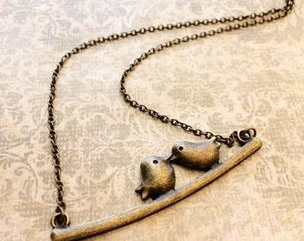Love Birds Necklace, Antique Bronze Chain, Charm Necklace, Gift for Her, Love Necklace, Bird Love Necklace, Girlfriend Gift