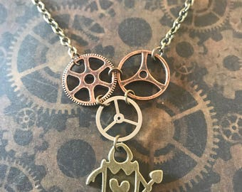 Clockwork heart soldier necklace