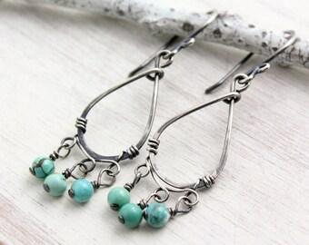 Turquoise Teardrop Chandelier Oxidized Silver Earrings
