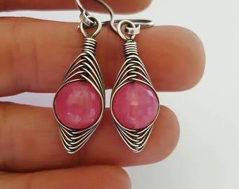 Pink jade earrings wire wrap earrings pink jade earrings pink gemstone earrings, wire wrapped earring silver jewelry pink silver earrings