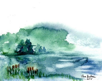 "Lake Watercolor PRINT called  ""The Mist"" of my original watercolor painting, available in two standard sizes 5 x 7 or 8 x 10"