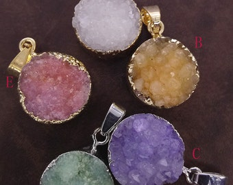 Round Textured Colated Natural Agate Druzy Golden, Silver Plated Pendant Connector,Single Bail, For Making Jewelry