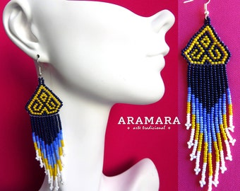 Huichol Earrings, Mexican Jewelry, Boho earrings, Mexican earrings, Mexican folk art, Native Jewelry, Native american earrings, AO-0135